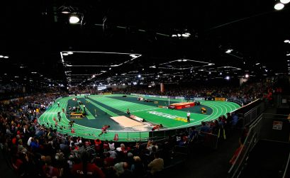 A general view of the start in the Men's 4x400 Metres Relay Final during day four of the IAAF World Indoor Championships at Oregon Convention Center on March 20, 2016 in Portland, Oregon. (Photo by Christian Petersen/Getty Images for IAAF)