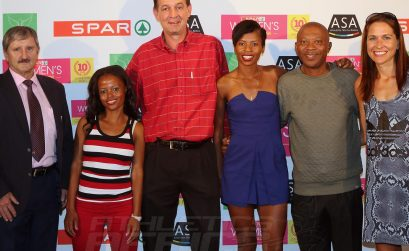 Left to Right; Dr. Bernadus Van der Spuy (Chief Director Department of Sport and Recreation), Poppy Mlambo (Athlete), Mike Prentice (SPAR Group Marketing and/Merchandising Executive), Mapaseka Makhanya (Athlete), James Moloi (Central Gauteng Athletics President) and Rene Kalmer (Athlete)