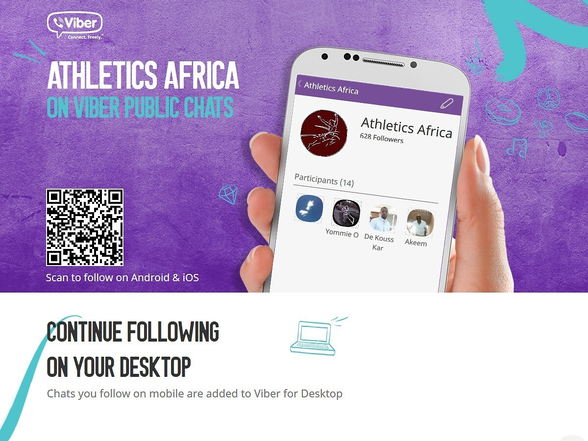 Join the conversation on AthleticsAfrica Viber Chats