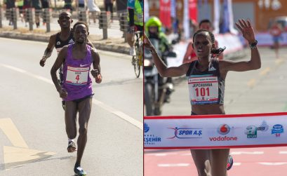 Violah Jepchumba (Kenya) and Ali Kaya (Turkey) winning at the 2016 Istanbul Half Marathon / Photo Credit: Bob Ramsak