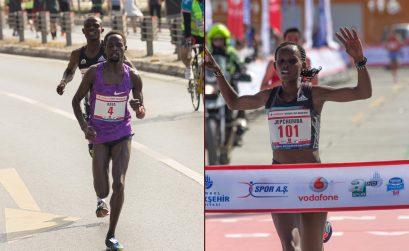 Violah Jepchumba (Kenya) and Ali Kaya (Turkey) winning at the 2016 Istanbul Half Marathon / Photo Credit: Bob Ramsak