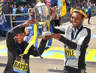 Ethiopians Atsede Baysa and Lemi Hayle beat strong fields at Boston Marathon 2016