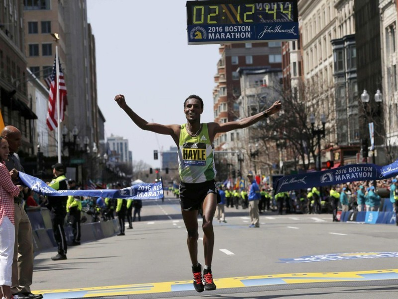 Ethiopian Lemi Berhanu Hayle edged defending champion Lelisa Desisa to win the 120th Boston Marathon / Photo: BAA