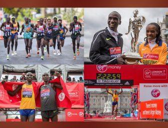 London Marathon: Kipchoge smashes course record, Sumgong edges Tufa