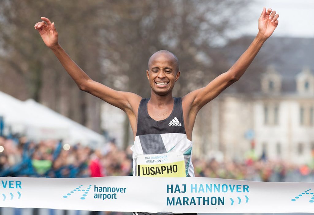 Lusapho April winning at the 2016 Hannover Marathon / Photo Credit: HAJ Hannover Marathon / Norbert Wilhelmi