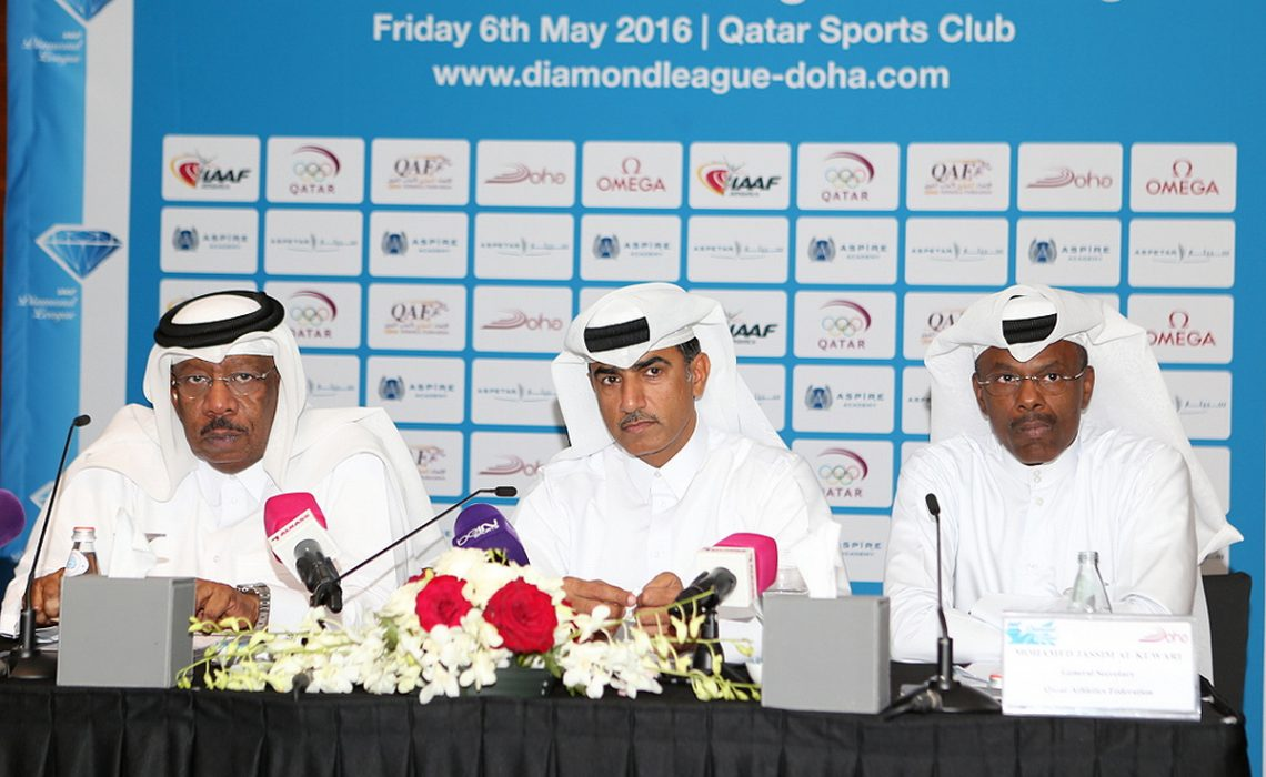 QAF-President-Dahlan-Al-Hamad,-QAF-Secretary-General-Mohamed-Al-Kuwari-and-former-World-Indoor-medallist-Talal-Mansour,-Chairman-of-QAF's-recent-established-Masters-Committee.