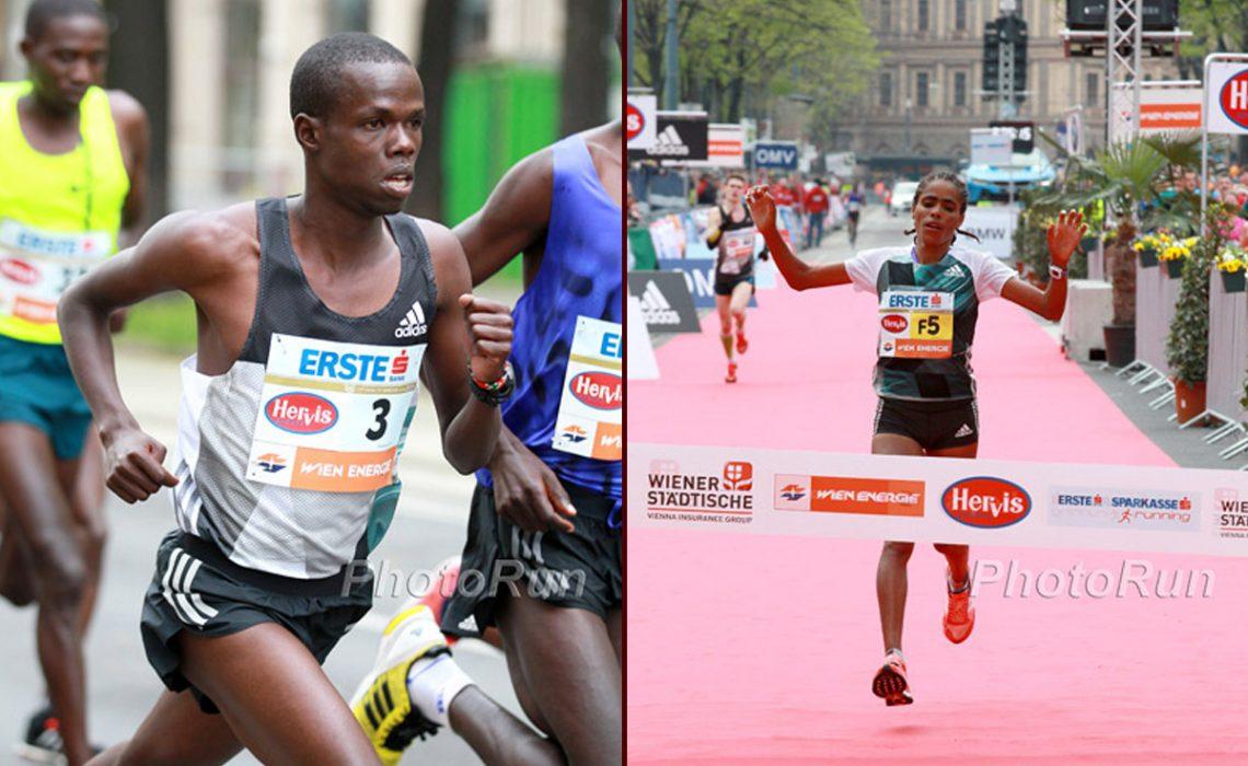 Robert Chemosin and Shuko Genemo winning the Vienna City Marathon 2016 / Photo Credit: www.photorun.net