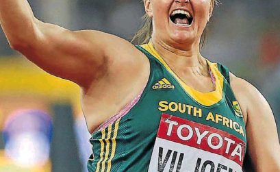 South Africa's Sunette Viljoen celebrates after winning the bronze medal in the women's javelin throw final during the IAAF World Championship Beijing 2015 / Photo credit: Getty Images for the IAAF