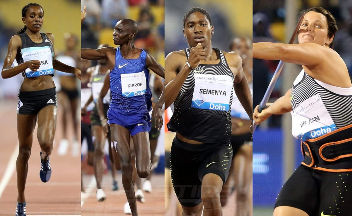 Almaz Ayana, Asbel Kiprop, Caster Semenya and Sunette Viljoen winning in Doha - IAAF Diamond League 2016 / Photo Credit: Angelos Zymaras / IDL Doha