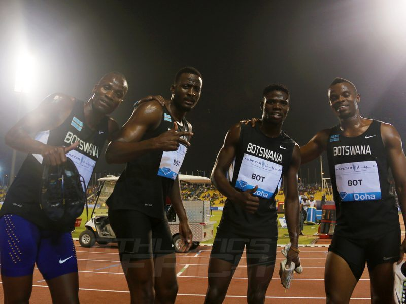 Botswana's quartet (Baboloki Thebe, Nijel Amos, Zacharia Kamberuka and Leaname Maotoanong) after winning men's 4x400m in Doha - IAAF Diamond League 2016 / Photo Credit: Angelos Zymaras / IDL Doha