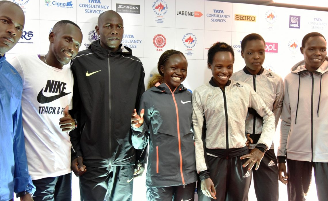 Elite athletes, from left to right: Patrick Makau, Cyprian Kotut, Gideon Kipketer; Gladys Chesir, Peres Jepchirchir, Agnes Tirop, Helah Kiprop. Photo credit: TCS World 10K organisers.