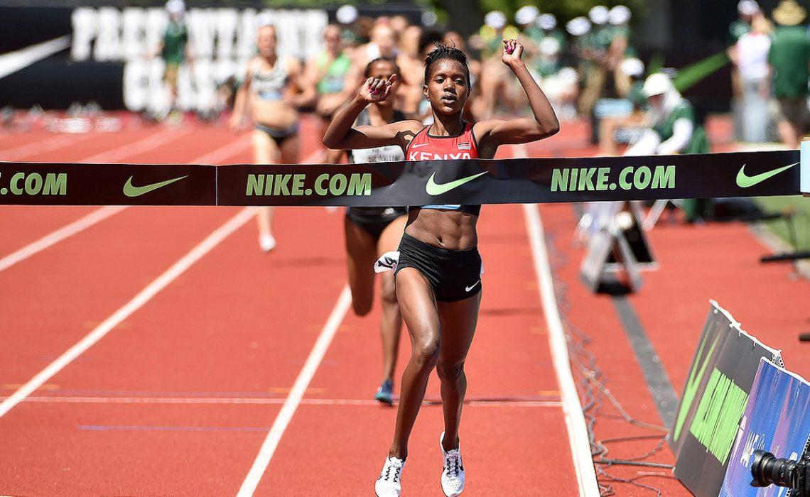 World silver medalist Faith Chepng'etich Kipyegon winning the women's 1500m at the IAAF Diamond League in Eugene 2016 / Photo credit: IAAF Diamond League