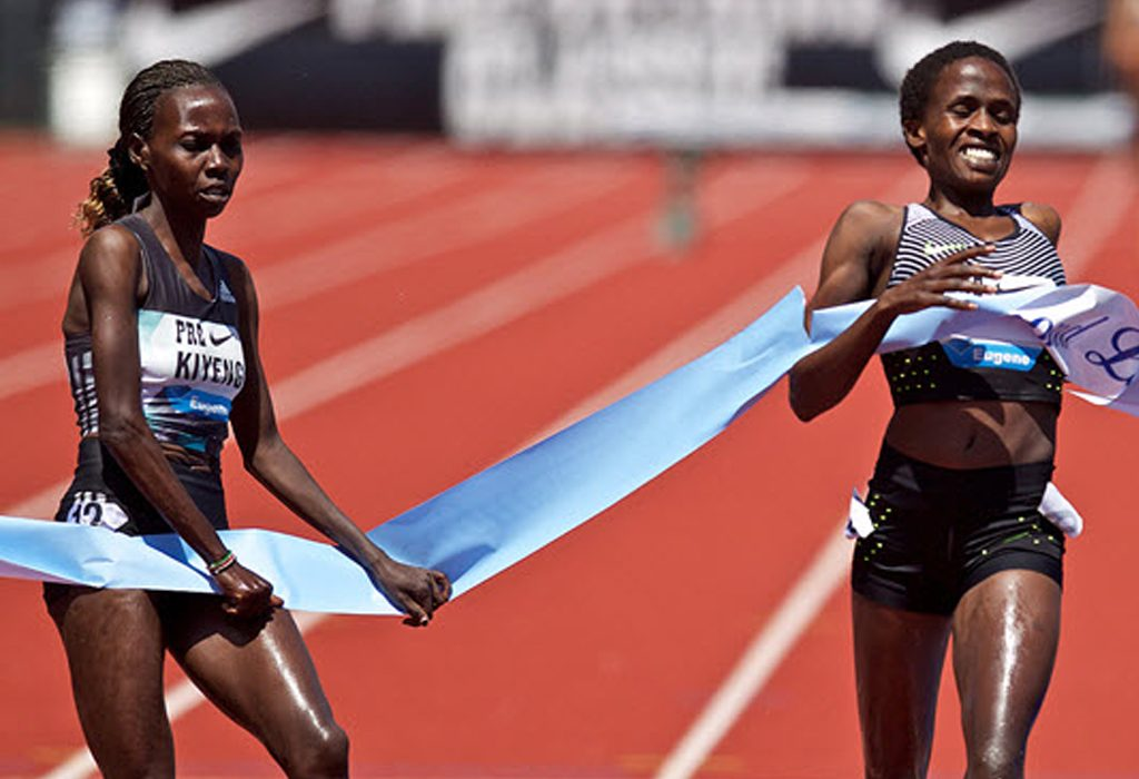 Ruth Chebet and Hyvin Kiyeng missed the existing record by only one second in Eugene / Photo credit: IAAF Diamond League