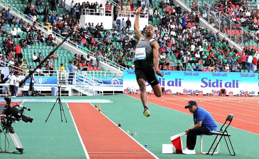 South African Rushwal Samaai jumped 8.38m to equal the African all-comers' record and his own PB at the IAAF Diamond League Meeting in Rabat, Morocco / Photo: Organisers.