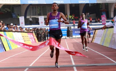 Mosinet Geremew of Ethiopia winning the 2016 TCS World 10K in Bengaluru, India / Photo credit: TCS World 10K Organizers