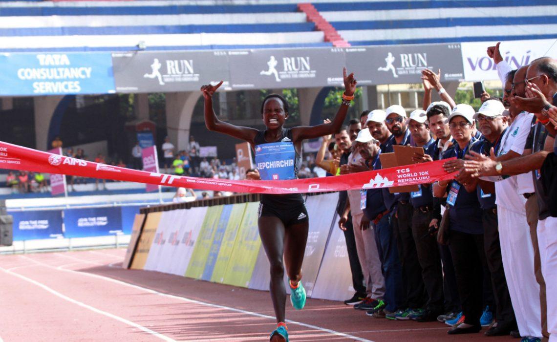 Peres Jepchirchir of Kenya winning the 2016 TCS World 10K in Bengaluru, India / Photo credit: TCS World 10K Organizers