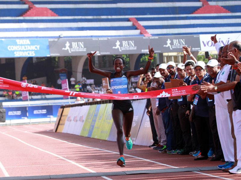Peres Jepchirchir of Kenya winning the 2016 TCS World 10K in Bengaluru, India / Photo credit: TCS World 10K Organizers