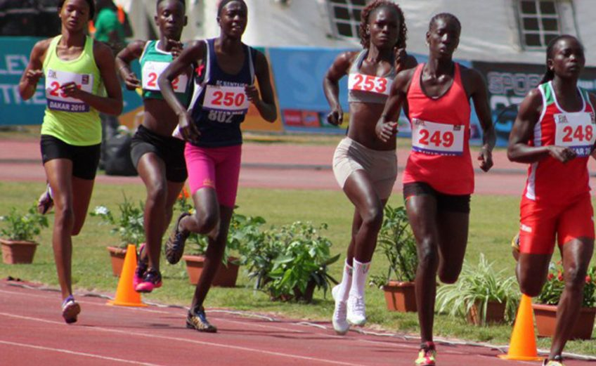 Senegalese athletes running at the Dakar Athletics Meeting
