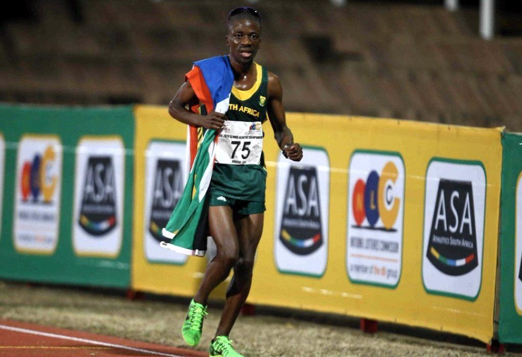 Stephen Mokoka wins men's 10000m at the 2016 African Senior Championships in Durban