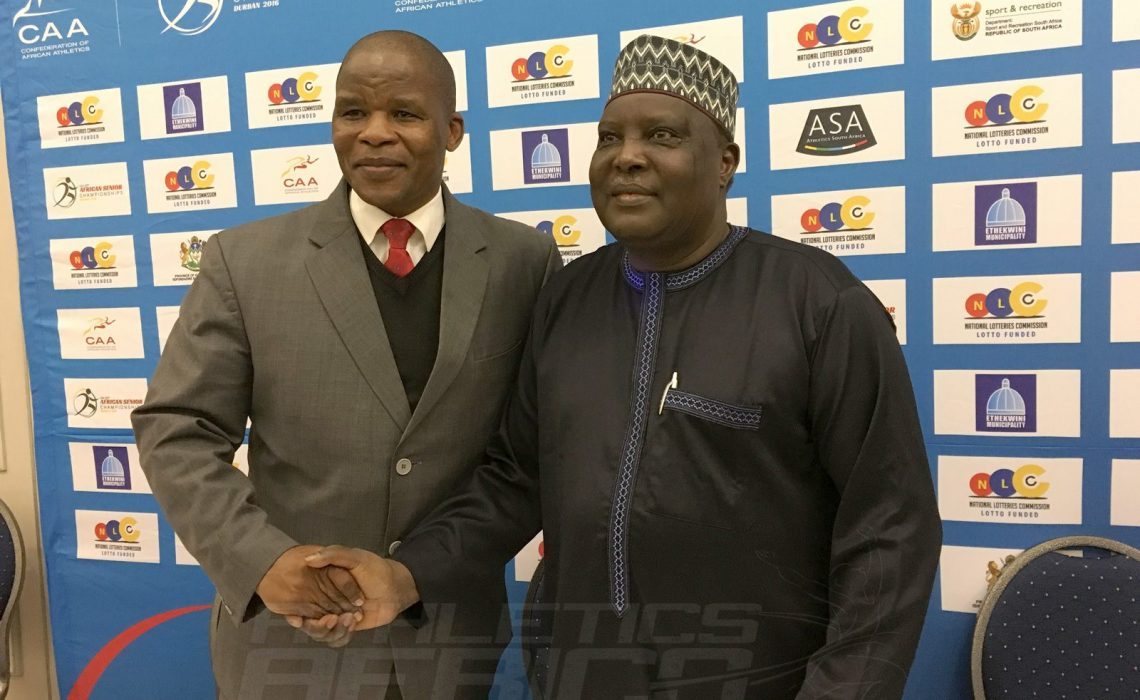 CAA President Hamad Kalkaba Malboum and ASA President Aleck Skhosana during the media conference at the 20th African Senior Championships in Durban June 25, 2016 / Photo credit: Yomi Omogbeja