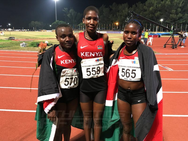 Kenyans Alice Aprot, Jackine Chepngeno and Joyline Jepkosgei at the 20th African Senior Championships in Durban June 25, 2016 / Photo credit: Yomi Omogbeja