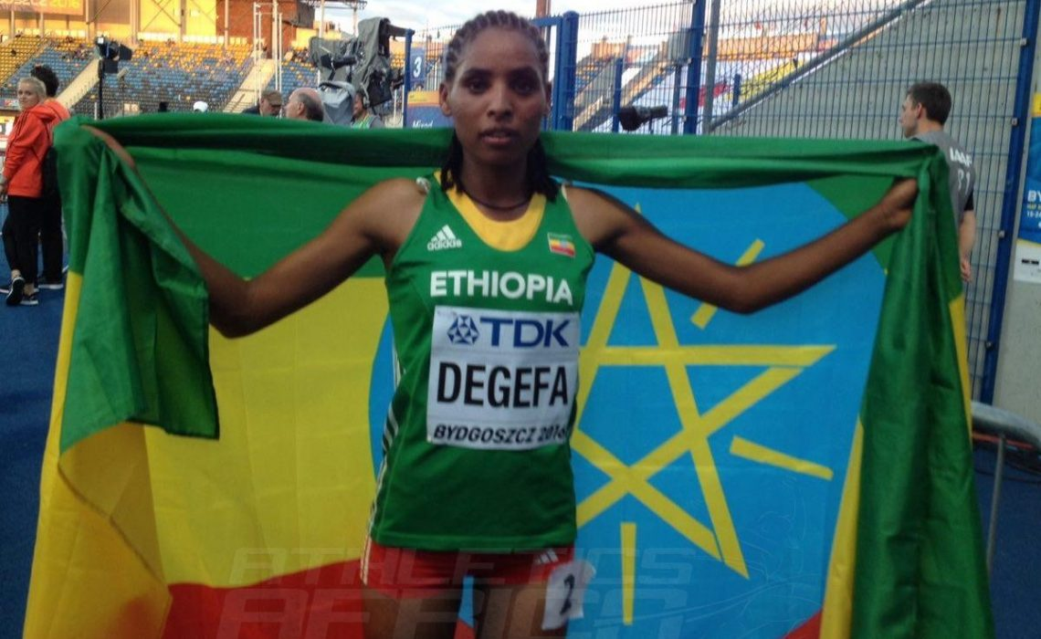 Ethiopia's Beyenu Degefa shaved almost a minute of her PB to win women's 3000m Gold in a CR 8:41.76 / Photo credit: Yomi Omogbeja