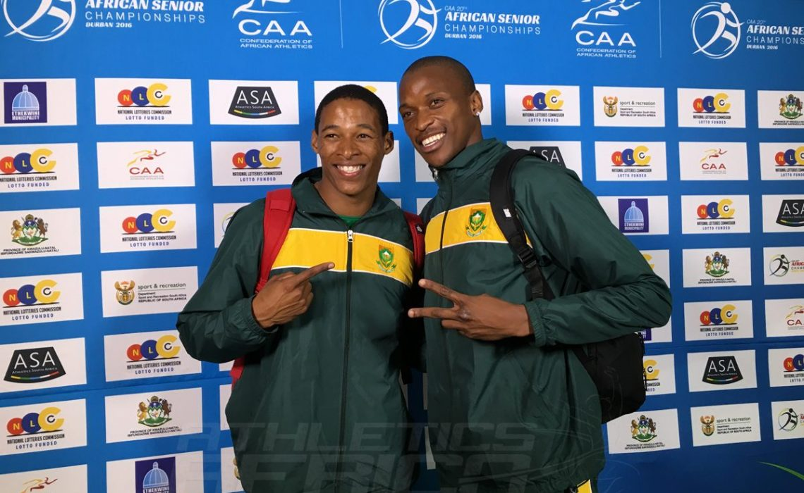 South Africans Ruswahl Samaai and Luvo Manyonga at the 20th African Senior Championships – Durban 2016 / Photo: Yomi Omogbeja