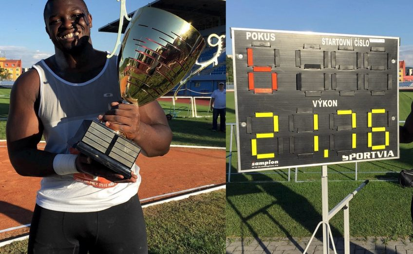 Nigeria's Stephen Mozia sets a new national Shot Put record at Usti nad Labem on Tuesday 19 July 2016.