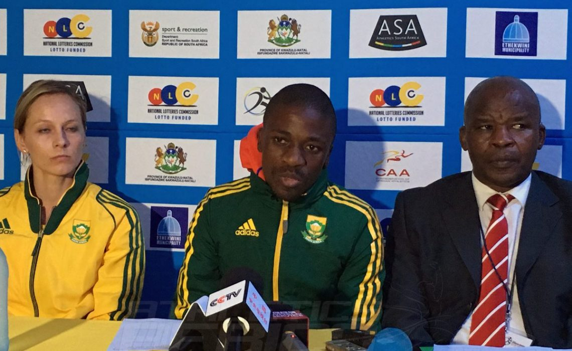 South Africans Claudia Heunis, Stephen Mokoka and ASA President Aleck Skhosana at the 20th African Senior Athletics Championships – Durban 2016 / Photo: Yomi Omogbeja