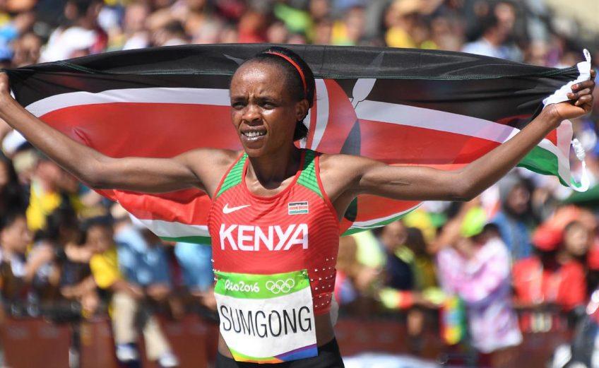 Jemima Sumgong won the women's marathon in 2:24:04, nine seconds ahead of Bahrain's Eunice Jepkirui Kirwa at Rio 2016 Olympics/ Photo credit: Getty Images for the IAAF
