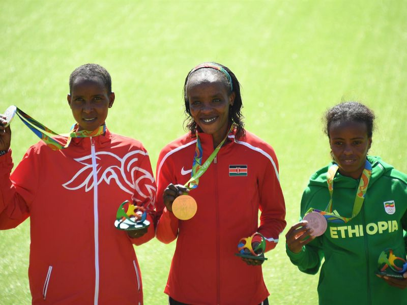 Jemima Sumgong won the women's marathon in 2:24:04, nine seconds ahead of Bahrain's Eunice Jepkirui Kirwa at Rio 2016 Olympics/ Photo credit: Getty Images for the IAAF