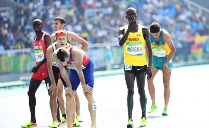 Musagala of Uganda during men's 1500m Heats on day 5 at the Rio 2016 Olympics / Photo credit: Norman Katende