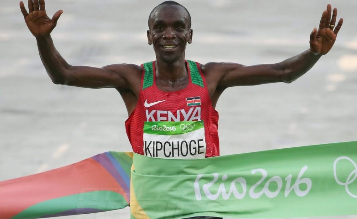 Kenya's Eliud Kipchoge winning the men's marathon gold on the final day of competition at the Rio 2016 Olympics in 2:08:44 / Photo Credit: Norman Katende