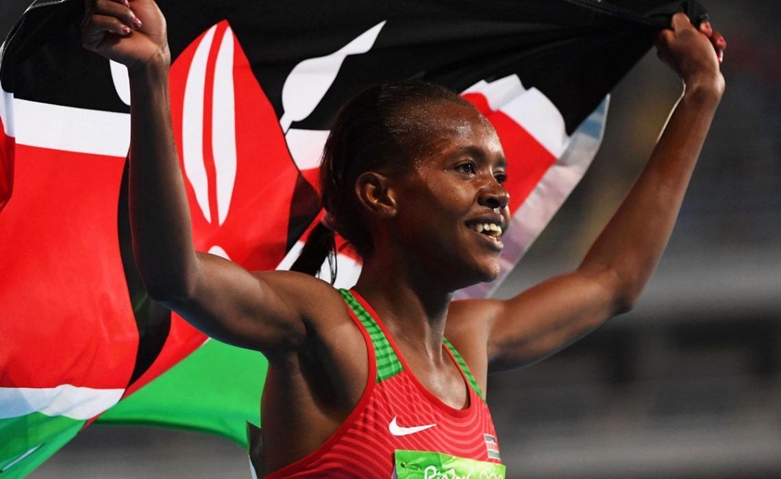 Kenya's Faith Kipyegon won the women's Olympic 1500 m gold ahead of Ethiopia's Genzebe Dibaba / Photo credit: Getty Images