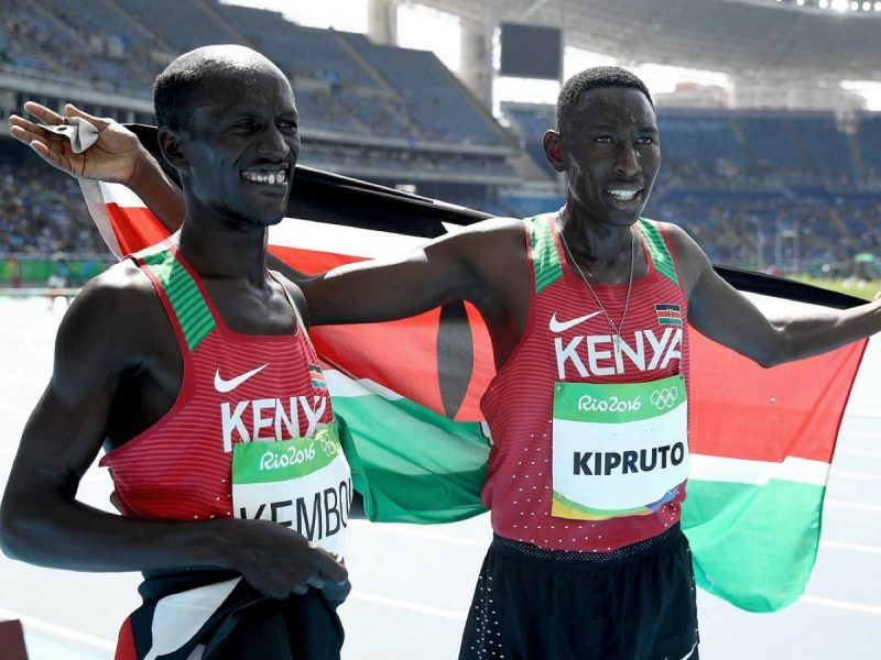 Kenya's Conseslus Kipruto winner men's 3000m SC and Ezekiel Kemboi on Day 6 of Athletics competition at Rio 2016 / Photo credit: Getty Images