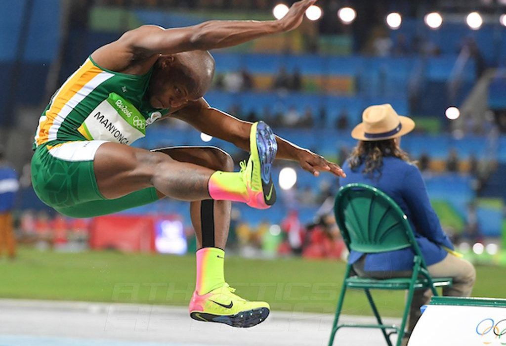 Luvo Manyonga of South Africa leaping into the long jump medal position in Rio 2016 / Photo credit: Roger Sedres