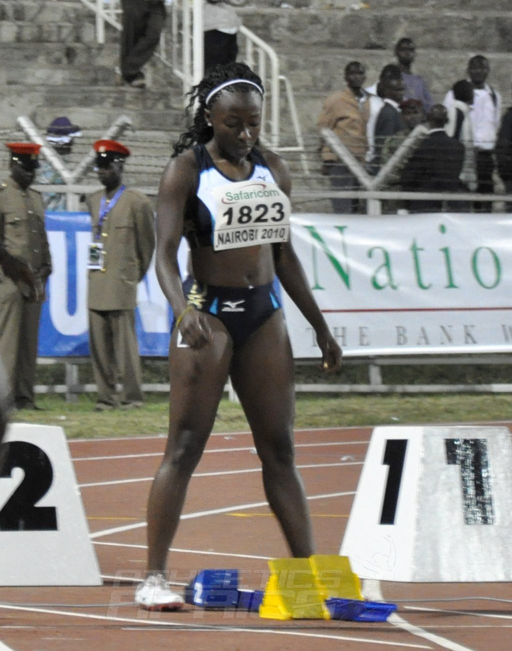 Liberia's Phobay Kutu-Akoi during the women's 100m semi-final at the 2010 African Senior Athletics Championships in Nairobi, Kenya / Photo Credit: Yomi Omogbeja