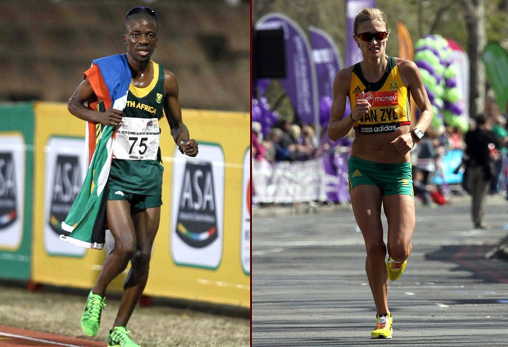 South Africa's Stephen Mokoka and Irvette van Zyl secured national men's and women's titles at the ASA Half-Marathon Championships in Port Elizabeth