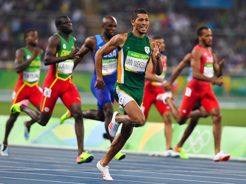 Wayde van Niekerk of South Africa during the men's 400m world record race in Rio 2016 / Photo Credit: Roger Sedres