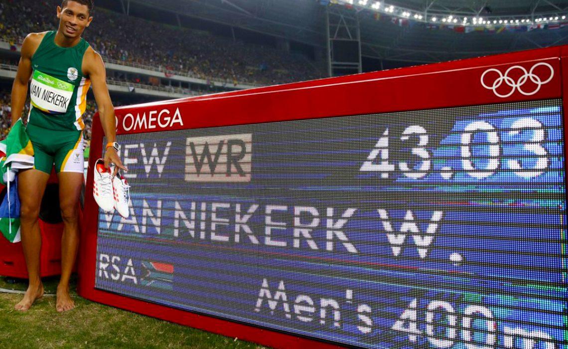 Wayde van Niekerk of South Africa celebrates after breaking the men's 400m world record in 43.03 secs in Rio 2016 / Photo Credit: Getty Images