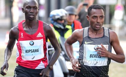 The 2016 Berlin Marathon winner Kenenisa Bekele (ETH) and Wilson Kipsang (KEN) during the race / Photo credit: www.photorun.net