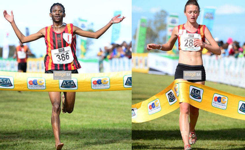 Ikangeng Gaorekwe of Central Gauging Athletics (CGA) wins the junior men 8km and Nicole van der Merwe of Central Gauteng Athletics (CGA) wins the junior women 8km during the 2016 South African Cross Country Championships held at The Olympia School of Skills in Pacaltsdorp on September 10, 2016 in George, South Africa. (Photo by Roger Sedres/Gallo Images)