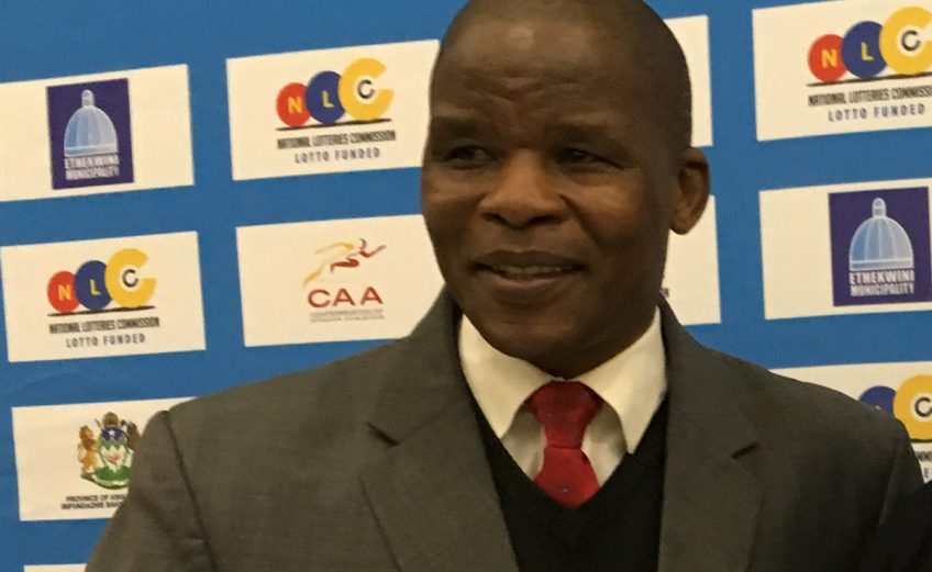 ASA President Aleck Skhosana during the media conference at the 20th African Senior Championships in Durban June 25, 2016 / Photo credit: Yomi Omogbeja