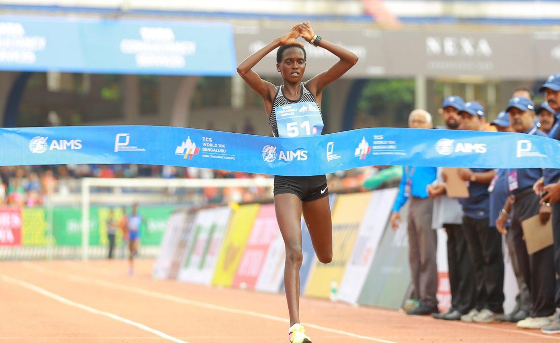 Kenya's Irene Cheptai winning at the TCS World 10K Bengaluru 2017 which was held on Sunday 21 May / Photo credit: TCSW10K / Procam International