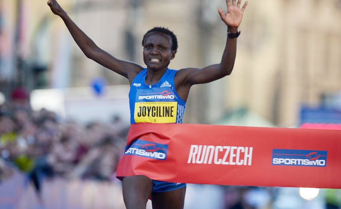 Kenya's Joyciline Jepkosgei winning after setting four world records at the 2017 Sportisimo Prague Half Marathon / Photo Credit: Organisers/Jiro M.