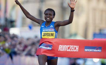 Kenya's Joyciline Jepkosgei winning after setting four world records at the 2017 Sportisimo Prague Half Marathon / Photo Credit: Organisers/Jiro M.