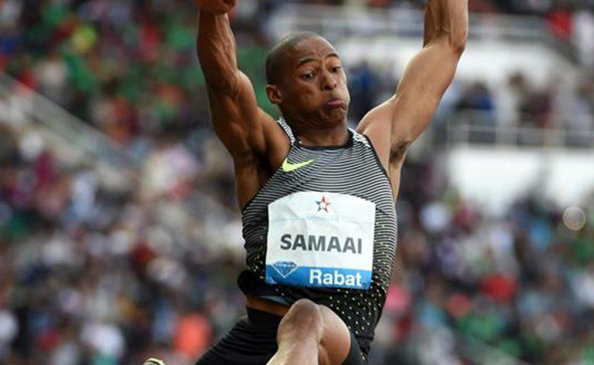 Ruswahl Samaai in the long jump at the IAAF Diamond League meeting in Rabat / Photo: Kirby Lee - IAAF