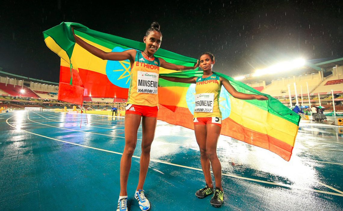 Abersh Minsewo on her way to winning the 3000m at the IAAF World U18 Championships Nairobi 2017 / Photo Credit: Getty Images for the IAAF