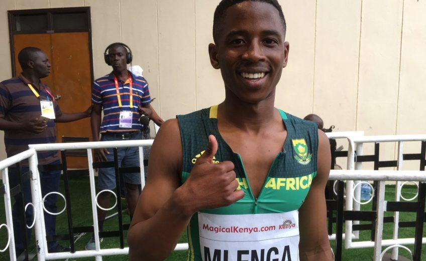 RSA's Retshidisitswe Mlenga after winning the 200m at Nairobi 2017/ Photo credit: IAAF