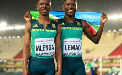 Tshenolo Lemao wins the 100m title at the IAAF World U18 Championships Nairobi 2017 / Photo Credit: Getty Images for the IAAF